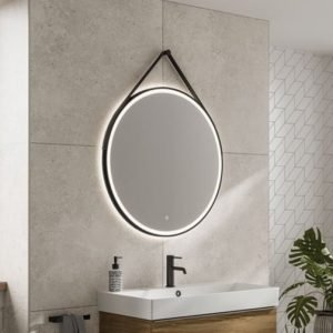 HIB round bathroom mirror black